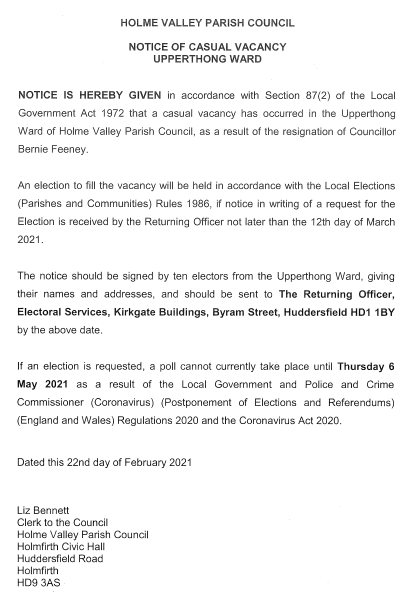 Notice of Casual Vacancy - Upperthong Ward