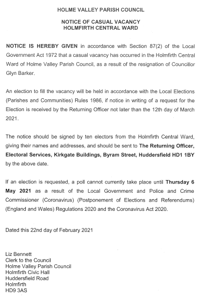 Notice of Casual Vacancy - Holmfirth Central Ward